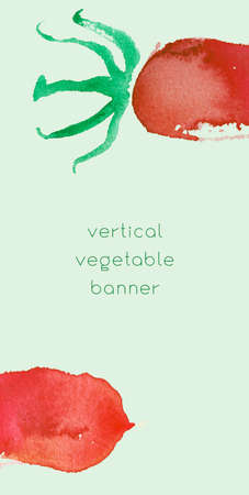 Vegetable vertical banner. Natural food flyer design with watercolor tomatoes for vegetable greenhouse. Vegetarian food backdrop with hand drawn tomato illustration. Concept homemade healthy eating.Ve