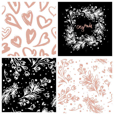 Natural cosmetic seamless pattern with tender floral ornament and hand-drawn hearts background. Eco cosmetics concept for beauty banner. Eco friendly backdrop. Icons leaves for beauty care products. 矢量图像