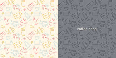 Coffee background vector for creative label design, banner of farmers coffee shop. Specialty coffee ornament with vector illustrations in line style. Coffee seamless pattern on cream backdrop. 矢量图像