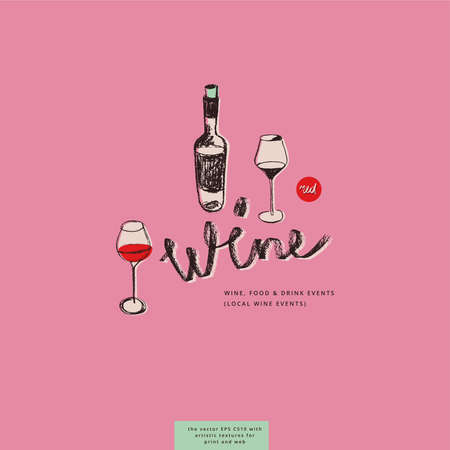 Bottle drawing for bar emblem and wine label design. Vector drafts of two wine glasses. Pencil texture for organic winery logo, wine tasting course badge, wines menu card on light pink background.