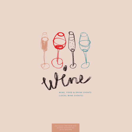 Wine glass drawings for lettering bar emblem and wine label design. Vector draft - four wine glasses. Pencil texture for bio winery icon, wine tasting course, wines menu card on light pink background