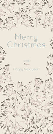 Vector Merry Christmas vertical banner template on sand colored background. Winter sale fair pattern. New Year seasonal celebration greeting card. Pinecone Xmas branches with frame leaves isolated fir