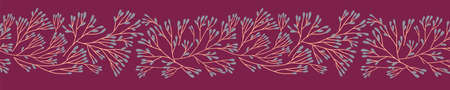 Xmas floral decoration. Christmas tree border with fir branches ornament for seamless pattern for panoramic banner, flyer, poster, greeting card. Decorative repeating ribbon for Winter holiday design.