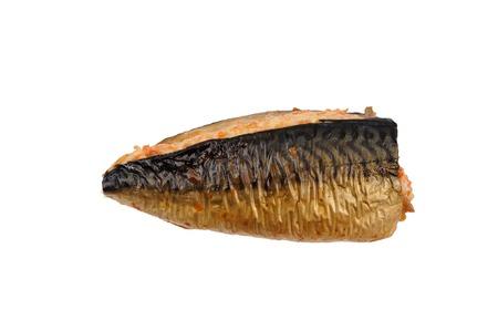 Appetizing smoked fish mackerel, delicacy Stock Photo