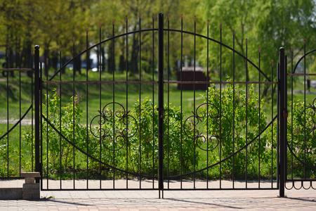 Schönes geschmiedetes Tor auf einem Hintergrund von Grünpflanzen. Standard-Bild - 80550502