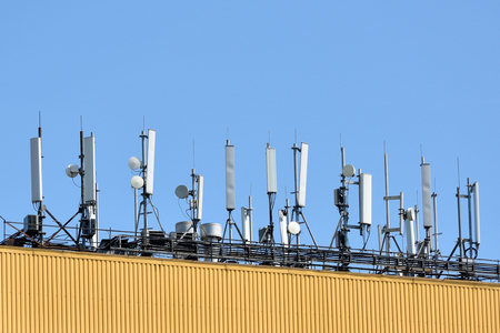 Antenna for cell phone communication on an iron roof.