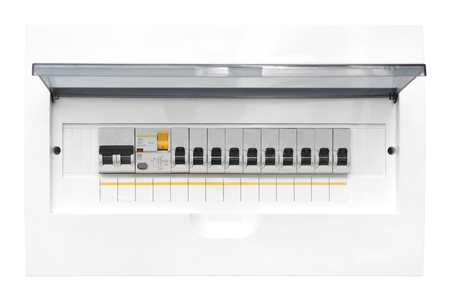 Shield with automatic switches of electricity in the room. Electricity control panel with circuit breakers. 版權商用圖片 - 98992745