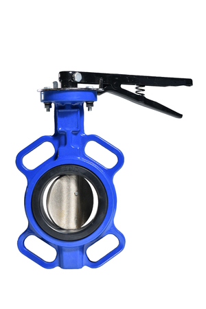 Butterfly valve isolated on white background.Manual valve. Close up