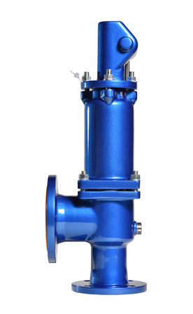 New blue safety valve with lever on white background. Valve for use in water supply. Spring valve