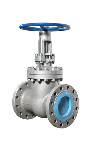 New rotary valve type is silver gray for installation in the water supply system. Isolated Stock Photo