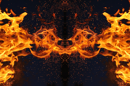 Abstraction, burning fire with sparks. Mystical type of butterfly or monster. Фото со стока
