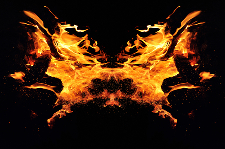 Abstraction, burning fire with sparks. Mystical type of butterfly or monster.