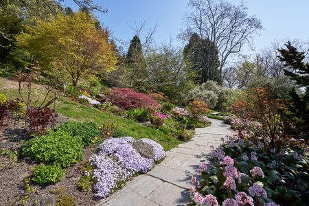 Beautiful footpath in a garden with various flowers in the European Flower Island of Mainau