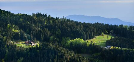 Panoramic picturesque landscape of a European secluded country house of Schwarzwald