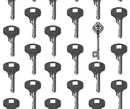 Business concept and be different. Several keys and one of them is the leader. Pattern seamless Foto de archivo