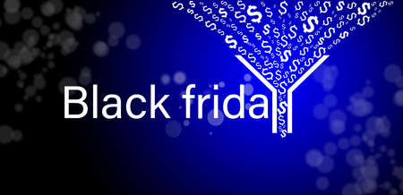 Business concept and increase sales on black friday, sales funnel and cash flow on a blue background. Фото со стока