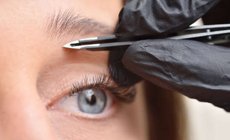 Eye and eyebrow of a young woman and tweezers, eyebrow correction procedure