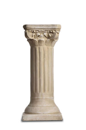 Classic plaster column in Greek style isolated on white background