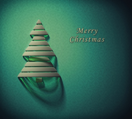 Merry Christmas background with stylized 3d Christmas tree photo