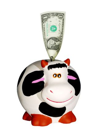 cash cow: cow bank with one dollar bill