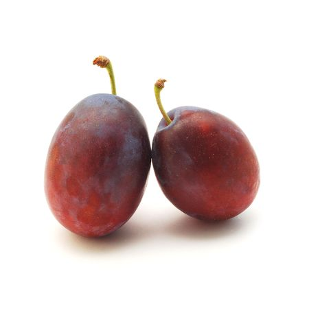 peal: plums isolated Stock Photo