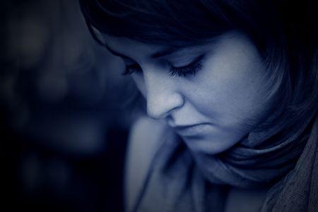sobbing: portrait in blue Stock Photo