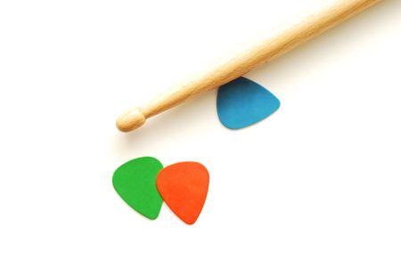 picks: drumstick and guitar picks