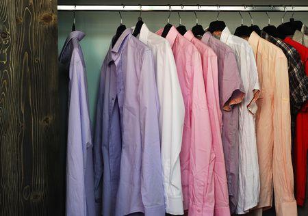 shirts on hangers: shirts  Stock Photo