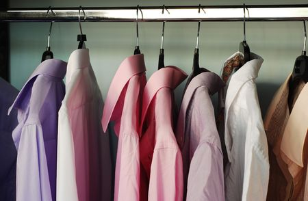 clothes on hangers: shirts Stock Photo