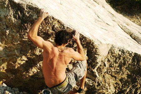 bouldering: rock climbing  Archivio Fotografico