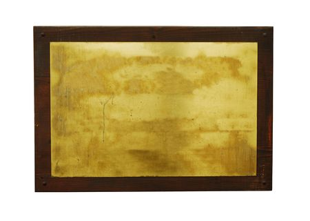 woden: blank metal tag wih woden frame