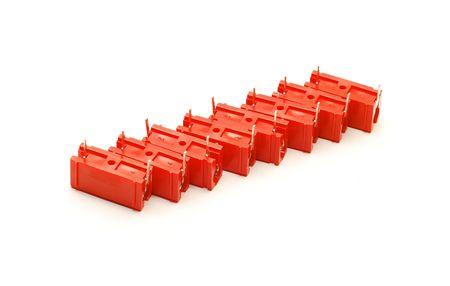 electrolytic: condensadores rojos aislados