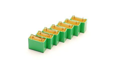 electrolytic: condensadores verdes  Foto de archivo