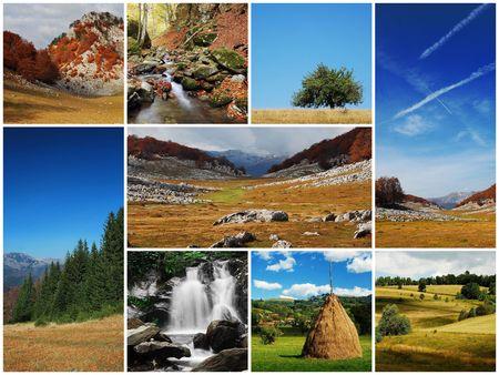 hay bale: landscape montage Stock Photo