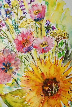 flowers, watercolor painting photo