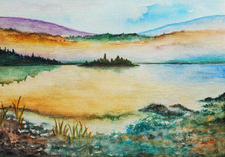 ocean shore, watercolor painting photo