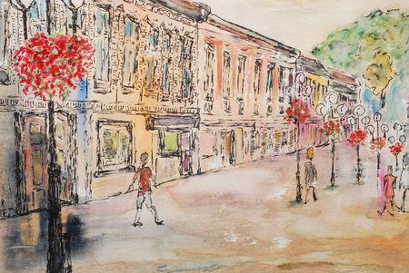 watercolor painting, urban landscape photo