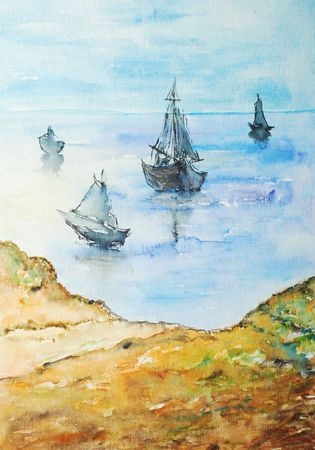 watercolor painting, boats on the shore photo