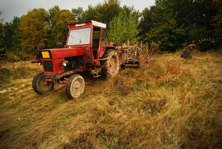 old tractor: tractor Stock Photo