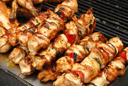 grilled chicken: roasted chicken meat  Stock Photo