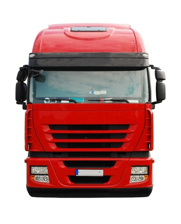 trailer truck: red truck