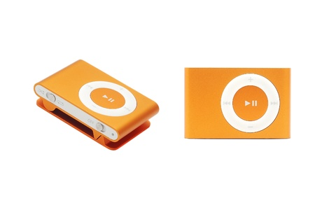 Caransebes, Romania, October, 26th, 2011 - Orange iPod Shuffle isolated on white 報道画像
