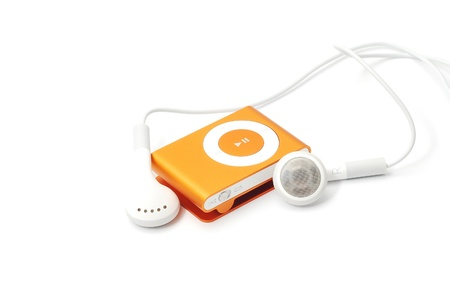 Caransebes, Romania, October, 27th, 2011 - Orange iPod Shuffle isolated on white 報道画像