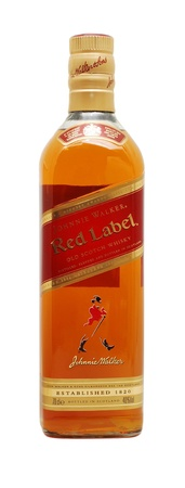 Caransebes, Romania, December, 9th, 2011 - Johnnie Walker Red label whiskey bottle isolated on white