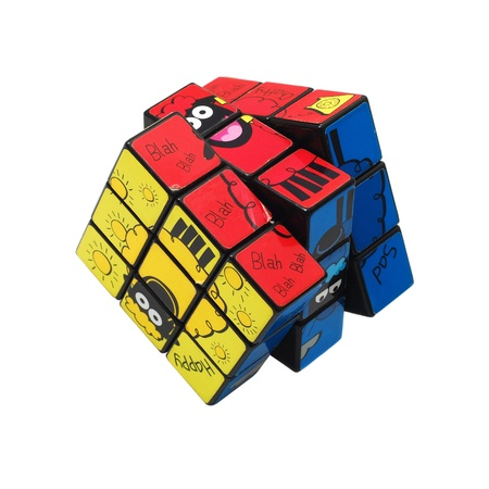 Caransebes, Romania, September, 26th, 2011 - Rubiks cube (solved) isolated on white