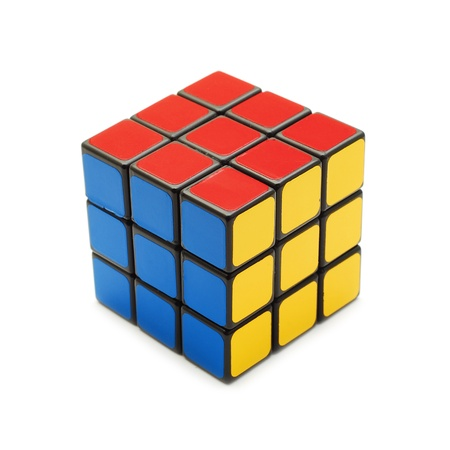 cube: Caransebes, Romania, March, 11th, 2009 - Rubiks cube isolated on white Editorial