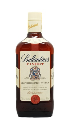 Caransebes, Romania, December, 31st, 2011 - Ballantines Finest whisky bottle isolated on white
