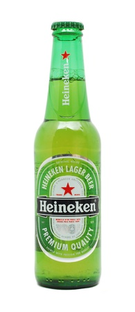 Caransebes, Romania, December, 29th, 2011 - Heineken beer bottle isolated on white