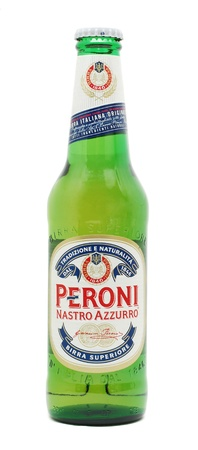 Caransebes, Romania, December, 29th, 2011 - Peroni Nastro Azzurro beer bottle isolated on white Stock Photo - 11728491