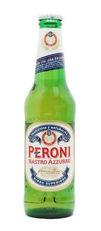 Caransebes, Romania, December, 29th, 2011 - Peroni Nastro Azzurro beer bottle isolated on white Stock Photo - 11728491